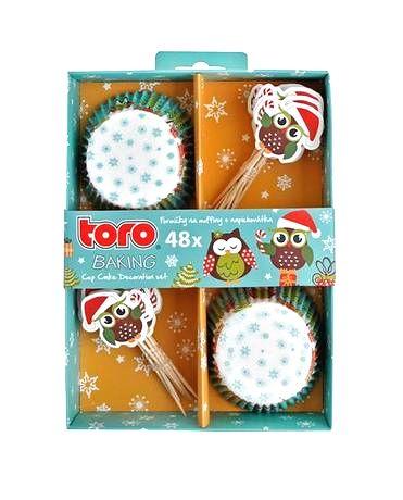 TORO Papierové košíčky na muffiny + napichovadlá 24ks TORO vianočná sova