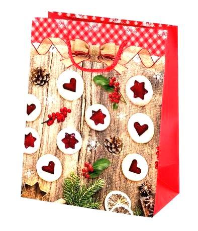 TORO Papierová vianočná dárčeková taška TORO 23x18x10cm linecké