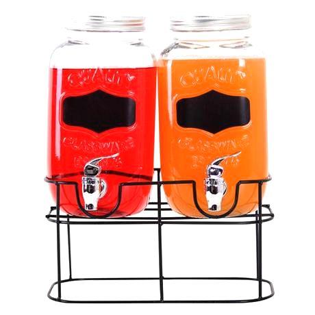 TORO Sklenený pohár s kohútikom TORO + kovový stojan 2x3
