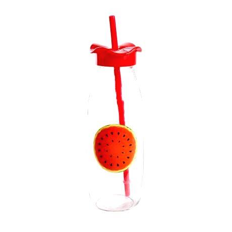 TORO Sklenená fľaša s viečkom a slamkou TORO 500ml ovocie