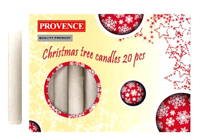 Provence Vianočná sviečka 10cm PROVENCE 20ks biela