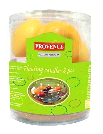 Provence Neparfumovaná plávajúce sviečka PROVENCE 8ks žltá