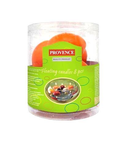 Provence Neparfumovaná plávajúce sviečka PROVENCE 8ks oranžová