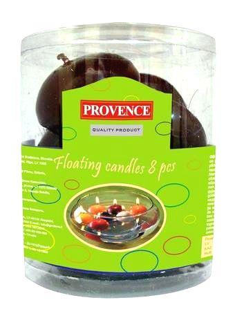 Provence Neparfumovaná plávajúce sviečka PROVENCE 8ks tmavo červená