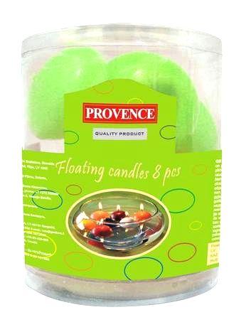 Provence Neparfumovaná plávajúce sviečka PROVENCE 8ks svetlo zelená