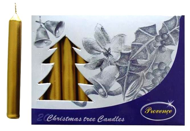 Provence Vianočná sviečka 10cm PROVENCE 20ks zlatá
