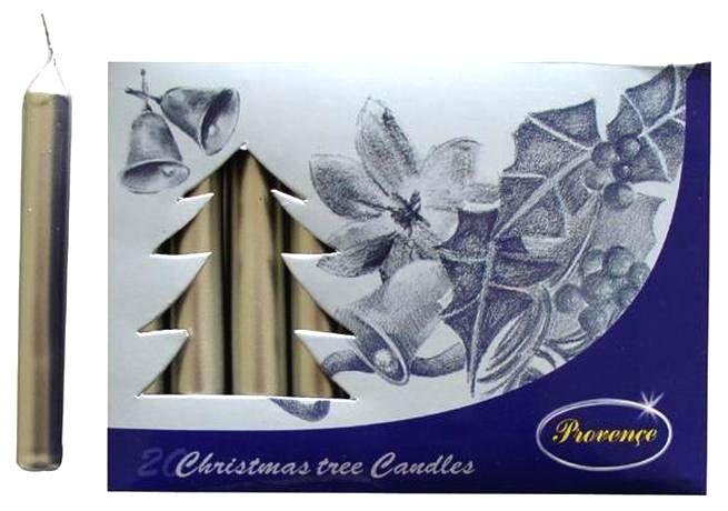 Provence Vianočná sviečka 10cm PROVENCE 20ks strieborná