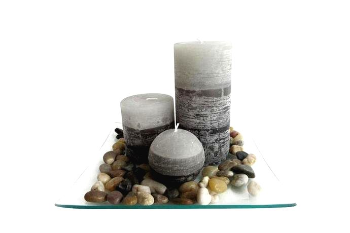 TORO Darčekový set 3 sviečok s vôňou jazmínu na sklenenom podnose s kameňmi