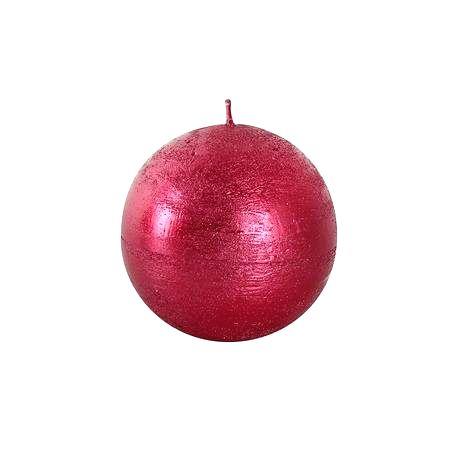 TORO Rustikálna sviečka guľa 8cm PROVENCE červená