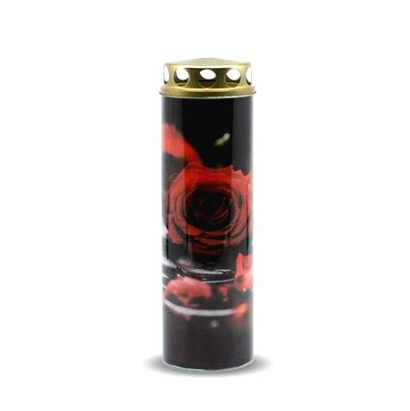 Náhrobná sviečka 225g červená ruža