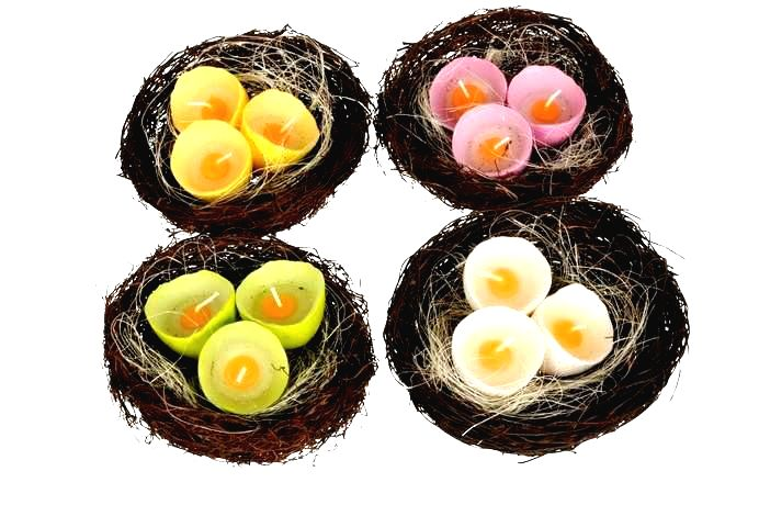 Dekorácie vtáčie hniezdo + 3 sviečky